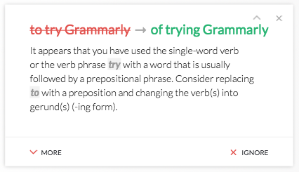 Sample Grammarly correction